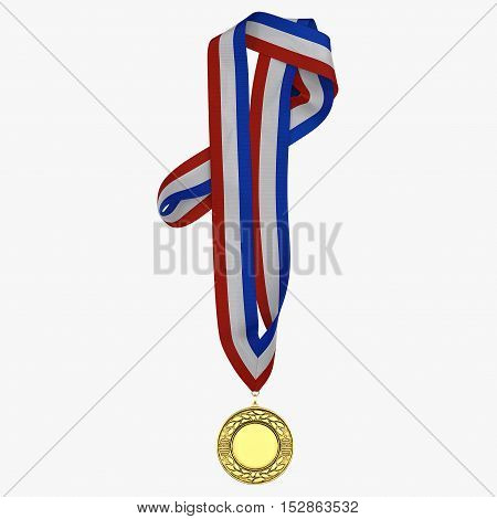 Gold medal with tricolor ribbon on white background. 3D illustration