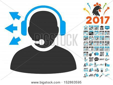 Operator Answer Speech pictograph with bonus 2017 new year clip art. Vector illustration style is flat iconic symbols, modern colors, rounded edges.
