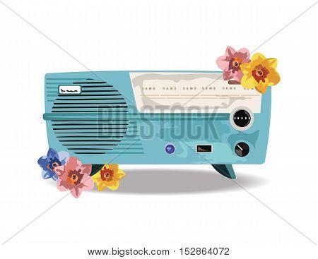 Vintage Retro music Radio with flowers decoration Vector