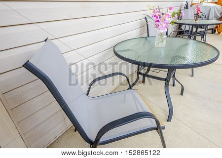 simple decoration and furniture in modern balcony