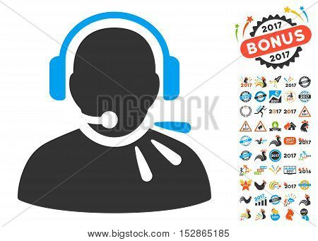 Operator Speech pictograph with bonus 2017 new year design elements. Vector illustration style is flat iconic symbols, modern colors, rounded edges.