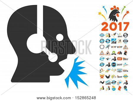 Operator Speech icon with bonus 2017 new year pictograph collection. Vector illustration style is flat iconic symbols, modern colors, rounded edges.