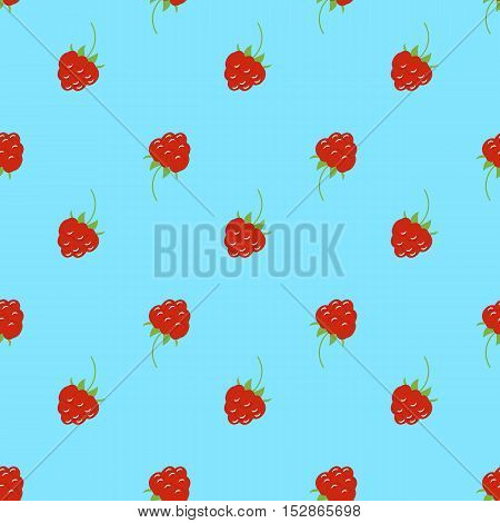 Bright seamless pattern with a raspberries. turquoise background