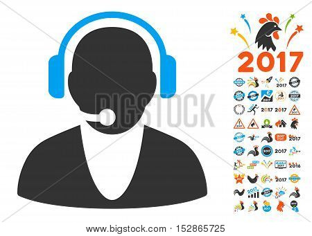 Operator pictograph with bonus 2017 new year pictures. Vector illustration style is flat iconic symbols, modern colors, rounded edges.