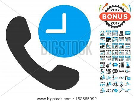 Phone Time icon with bonus 2017 new year graphic icons. Vector illustration style is flat iconic symbols, modern colors, rounded edges.