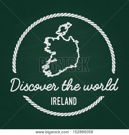 White Chalk Texture Hipster Insignia With Ireland Map On A Green Blackboard. Grunge Rubber Seal With