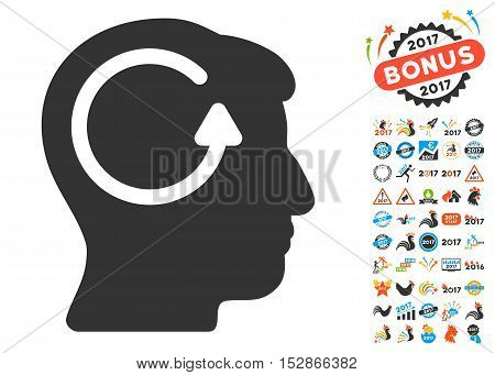 Refresh Head Memory pictograph with bonus 2017 new year images. Vector illustration style is flat iconic symbols, modern colors, rounded edges.