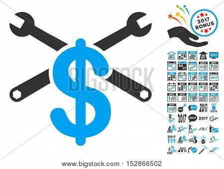 Repair Service Price pictograph with bonus 2017 new year graphic icons. Vector illustration style is flat iconic symbols, modern colors, rounded edges.