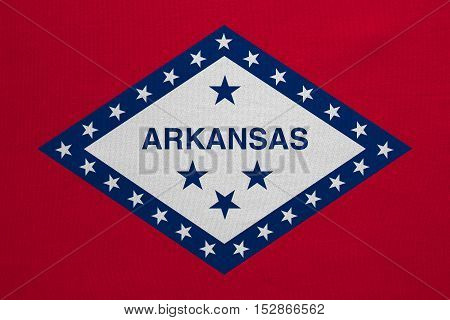 Flag of the US state of Arkansas. American patriotic element. USA banner. United States of America symbol. Arkansan official flag with real detailed fabric texture illustration. Accurate size colors