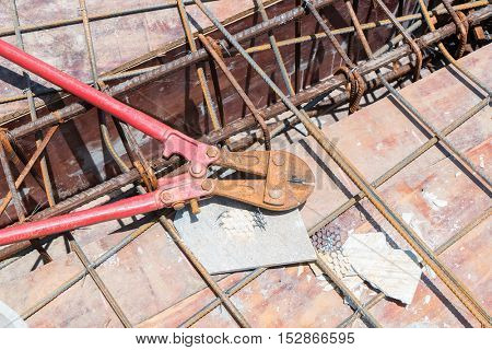 Reinforced steel bars and Steel cutters on building construction site