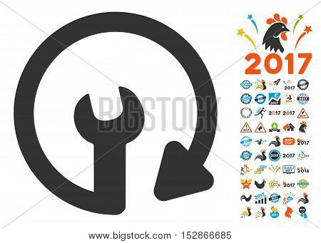 Repeat Service icon with bonus 2017 new year icon set. Vector illustration style is flat iconic symbols, modern colors, rounded edges.