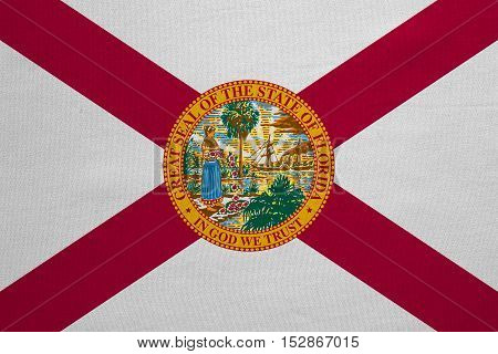 Flag of the US state of Florida. American patriotic element. USA banner. United States of America symbol. Floridian official flag with real detailed fabric texture illustration. Accurate size colors