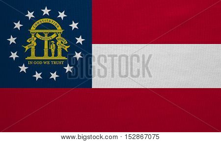 Flag of the US state of Georgia. American patriotic element. USA banner. United States of America symbol. Georgian official flag with real detailed fabric texture illustration. Accurate size colors