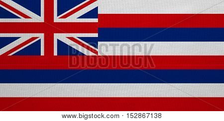 Flag of the US state of Hawaii. American patriotic element. USA banner. United States of America symbol. Hawaiian official flag with real detailed fabric texture illustration. Accurate size colors
