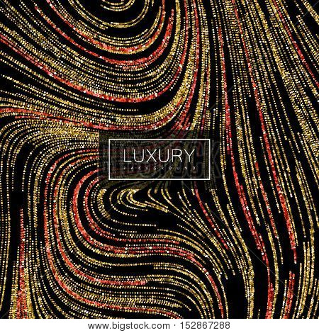 Luxury festive background with shiny red ruby and golden glitters. Vector festive illustration of red glittering swirled stripes texture