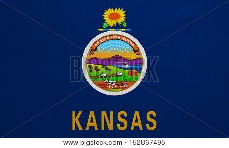Flag of the US state of Kansas. American patriotic element. USA banner. United States of America symbol. Kansan official flag with real detailed fabric texture illustration. Accurate size colors