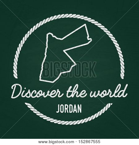 White Chalk Texture Hipster Insignia With Hashemite Kingdom Of Jordan Map On A Green Blackboard. Gru