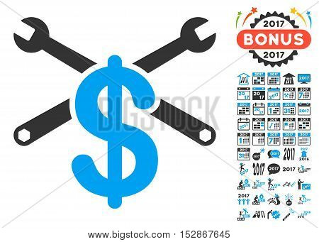 Service Price pictograph with bonus 2017 new year icon set. Vector illustration style is flat iconic symbols, modern colors, rounded edges.