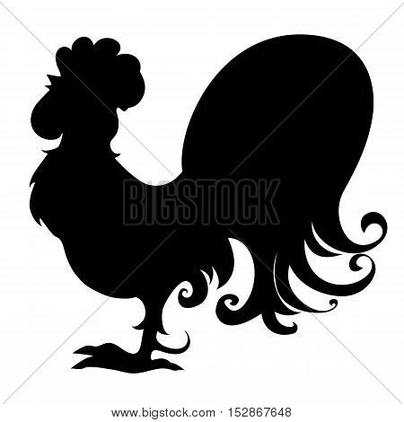 Silhouette of stylized rooster black isolated on white background. Symbol of 2017 new year. Chinese calendar.