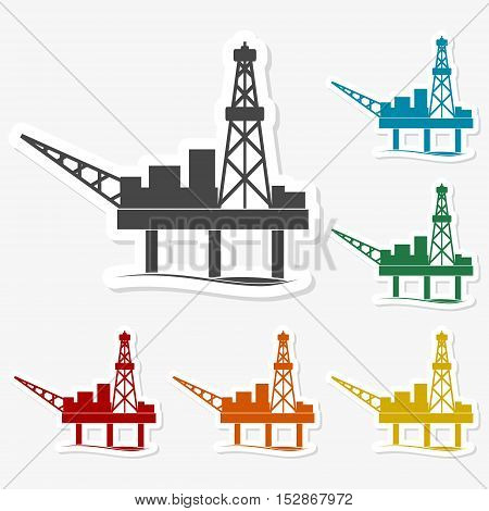 Multicolored paper stickers - Oil rig on gray background