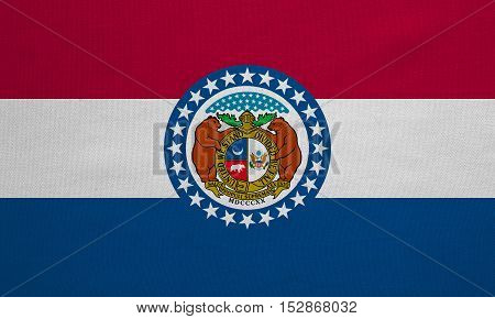 Flag of the US state of Missouri. American patriotic element. USA banner. United States of America symbol. Missourian official flag real detailed fabric texture illustration. Accurate size colors