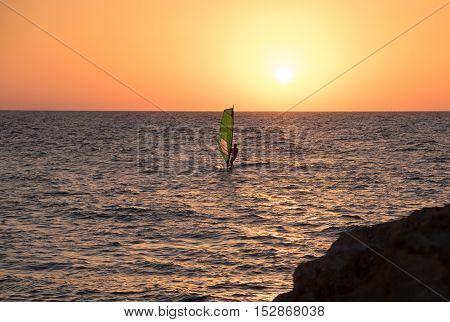 Windsurf In Mediterranean Sea At Sunset.tel-aviv. Israel