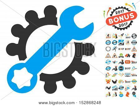 Service Tools icon with bonus 2017 new year pictures. Vector illustration style is flat iconic symbols, modern colors, rounded edges.