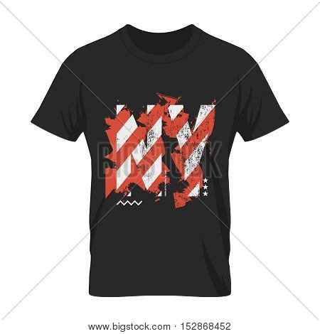 NY art modern clothing tee print vector design. Premium quality superior abstract New York logo concept.  Shabby American flag letters t-shirt emblem illustration mock-up.