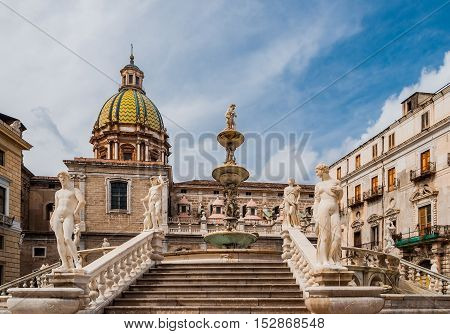 Piazza Pretoria is one of the Central squares of Palermo Sicily Italy.