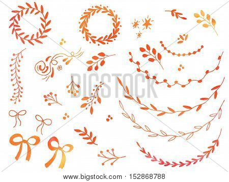 Collection of hand drawn doodle design elements with watercolor texture isolated on white background. Set of autumn handdrawn borders laurel wreaths floral dividers ribbon bow. Vector illustration