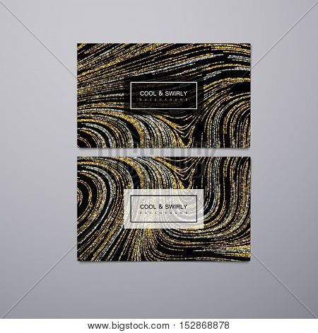 Greeting, invitation or business cards design template with swirled glittering stripes. Vector illustration of golden and silver glitter background. Marble or acrylic texture imitation.