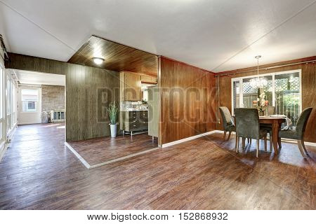 House Interior. Open Floor Plan With Hardwood Floors