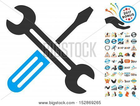 Spanner and Screwdriver pictograph with bonus 2017 new year symbols. Vector illustration style is flat iconic symbols, modern colors, rounded edges.