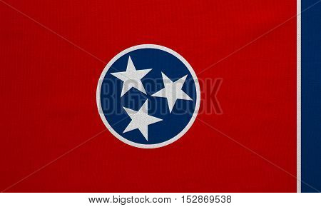 Flag of the US state of Tennessee. American patriotic element. USA banner. United States of America symbol. Tennessean official flag real detailed fabric texture illustration. Accurate size colors