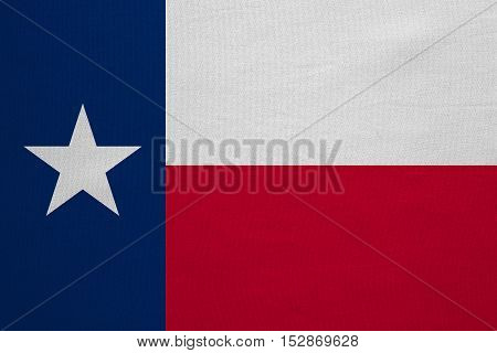 Flag of the US state of Texas. American patriotic element. USA banner. United States of America symbol. Texan official flag with real detailed fabric texture illustration. Accurate size colors