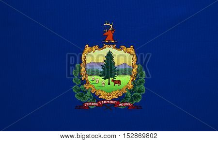 Flag of the US state of Vermont. American patriotic element. USA banner. United States of America symbol. Vermonter official flag with real detailed fabric texture illustration. Accurate size colors