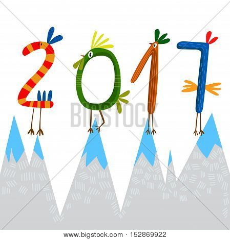 2017 Concept New Year Background. Symbol Of 2017 On The Chinese Calendar.  Vector Element For New Ye