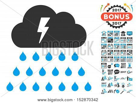 Thunderstorm Rain Cloud pictograph with bonus 2017 new year pictograms. Vector illustration style is flat iconic symbols, modern colors, rounded edges.