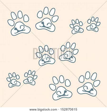 Nice Picture Of Silhouette Cats Lying Inside Animal Traces On A Colored Background.