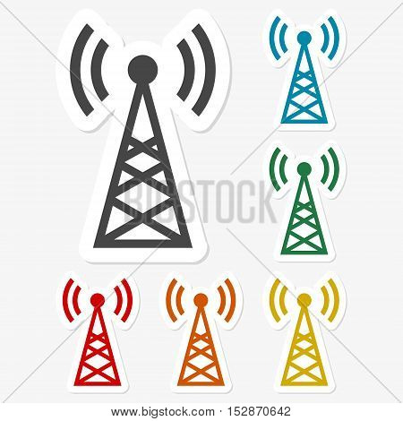 Multicolored paper stickers - Transmitter icon on gray background