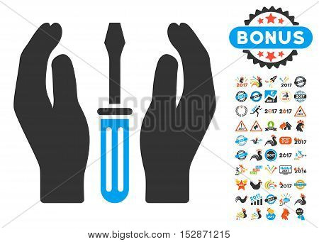 Tuning Screwdriver Care Hands pictograph with bonus 2017 new year clip art. Vector illustration style is flat iconic symbols, modern colors, rounded edges.