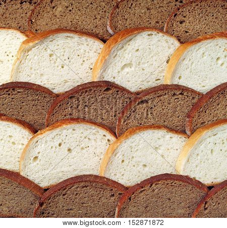 Different types of bread background, top view