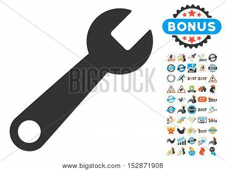 Wrench pictograph with bonus 2017 new year graphic icons. Vector illustration style is flat iconic symbols, modern colors, rounded edges.