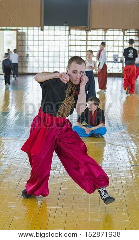 Lviv Ukraine - April 25.2015: Competitor in the martial arts to perform in the gym in the city park in Lviv Ukraine