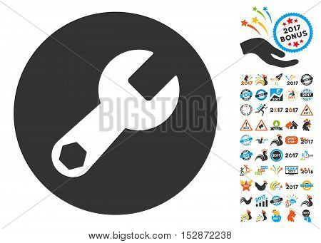 Wrench pictograph with bonus 2017 new year symbols. Vector illustration style is flat iconic symbols, modern colors, rounded edges.