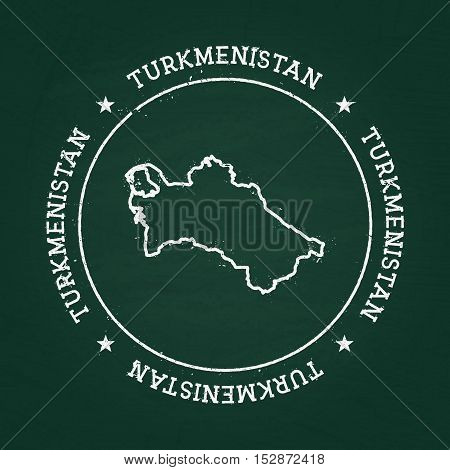 White Chalk Texture Rubber Seal With Turkmenistan Map On A Green Blackboard. Grunge Rubber Seal With