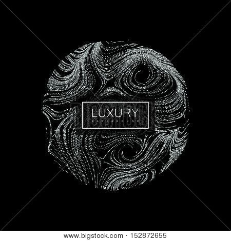 Luxury background with abstract sphere of shiny silver glitters. Vector illustration of glittering swirled stripes texture