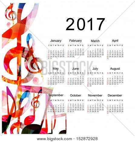Calendar planner 2017 design template with colorful music notes. Music themed calendar poster, week starts Sunday.