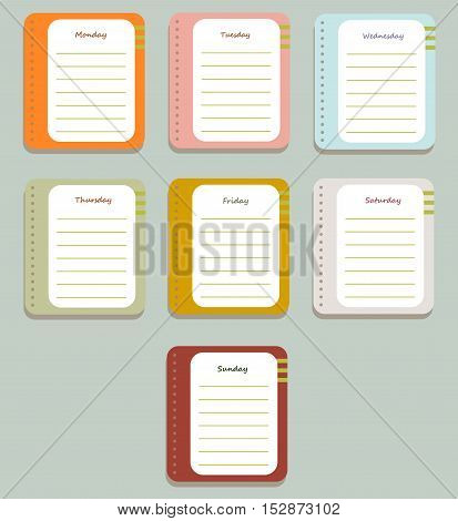 The sheets of the planner for weekly planning with the names of the days of the week. Diary.Vector illustration.