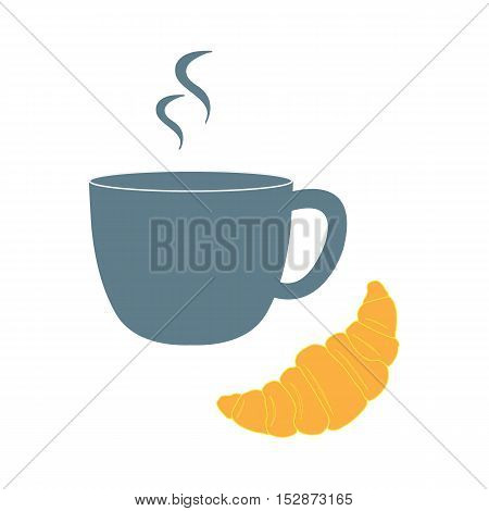 Stylized Icon Of A Colored Cup And Croissant